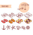 set of shoes summer beach vacations vector image vector image