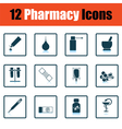 Set of twelve pharmacy icons vector image vector image