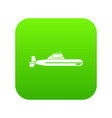 submarine icon digital green vector image