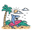 surfer sharks on beach vector image