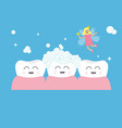three tooth gum icon set tooth fairy flying wings vector image vector image