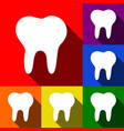 tooth sign set of icons with vector image vector image