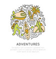 travel outdoor adventure hand draw icon concept vector image