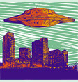ufo with light flying over vector image vector image
