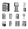 variety of terminals monochrome icons in set vector image vector image