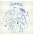 vegetables doodles squared paper vector image