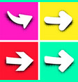 white arrows on colorful background vector image