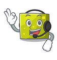 with headphone square mascot cartoon style vector image