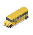 yellow school bus isolated isometric 3d icon vector image vector image