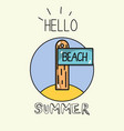 emblem funny surfboard to vacation activity vector image