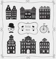 Vintage Old Styled Houses Black Shapes vector image