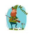 a hunter with a gun got a rabbit cartoon vector image vector image