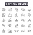 advisory services line icons signs set vector image vector image