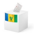 Ballot box with voicing paper Saint Vincent and vector image vector image
