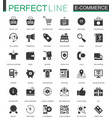 black classic e-commerce shopping icons set vector image