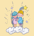 boy and girl in love cartoons vector image
