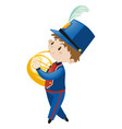 boy in blue uniform playing french horn vector image vector image