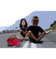 cartoon funny man and woman sitting with flowers vector image vector image