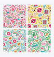 cartoon seamless pattern girlish accessories vector image vector image