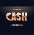 cash font 3d bold gold style vector image
