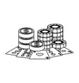 casino poker card coins money and stak chips vector image