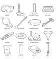 chemical laboratory tools icons set outline style vector image vector image