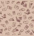chocolate cookie ingredients pattern on beige vector image vector image