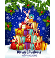 christmas gift greeting card for winter holidays vector image