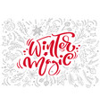 christmas red winter magic calligraphy lettering vector image vector image
