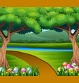 colored easter eggs in the grass with nature backg vector image vector image