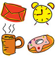 colorful pictures with alarm clock vector image vector image