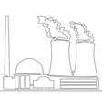 continuous line nuclear power plant concept vector image vector image