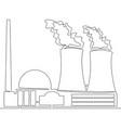 continuous line nuclear power plant concept vector image