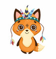 cute boho little fox with feathers vector image