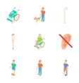 Disability people icons set cartoon style vector image vector image