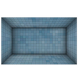 empty futuristic room with blue mosaic walls vector image vector image