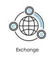 exchange isolated icon bitcoin euro and dollar vector image