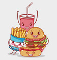 fast food cute burger hot dog french fries and vector image vector image