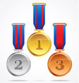 gold silver and bronze medals with ribbons 123 vector image vector image