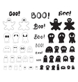 Halloween collection of outlines and silhouettes vector image