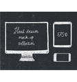 Hand drawn doodle electronic devices mockup set vector image vector image