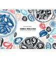 hand drawn edible marine mollusks with herbs vector image vector image