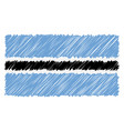 hand drawn national flag of botswana isolated on a vector image vector image