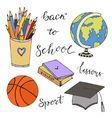 Hand drawn with school stationery doodle icons vector image vector image