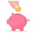 hand put coin to piggy bank crowd funding vector image vector image
