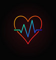 heart beat colored icon heartbeat outline vector image vector image