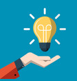 idea concept with light bulb above hand flat vector image vector image