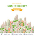 isometric city popular structures vector image vector image