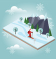 isometric santa claus skiing christmas and new vector image