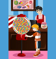 kid buying candy from a vending machine vector image vector image